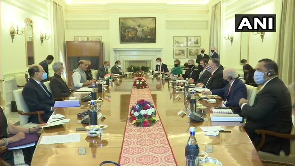 भारत और अमेरिका के बीच तीसरी 2+2 मंत्री स्तरीय बैठक नई दिल्ली के हैदराबाद हाउस में शुरू हो गई