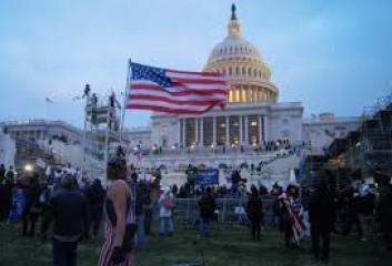 अमेरिका में राज्यों के संसद भवनों के पास एकत्रित हुए कुछ प्रदर्शनकारी
